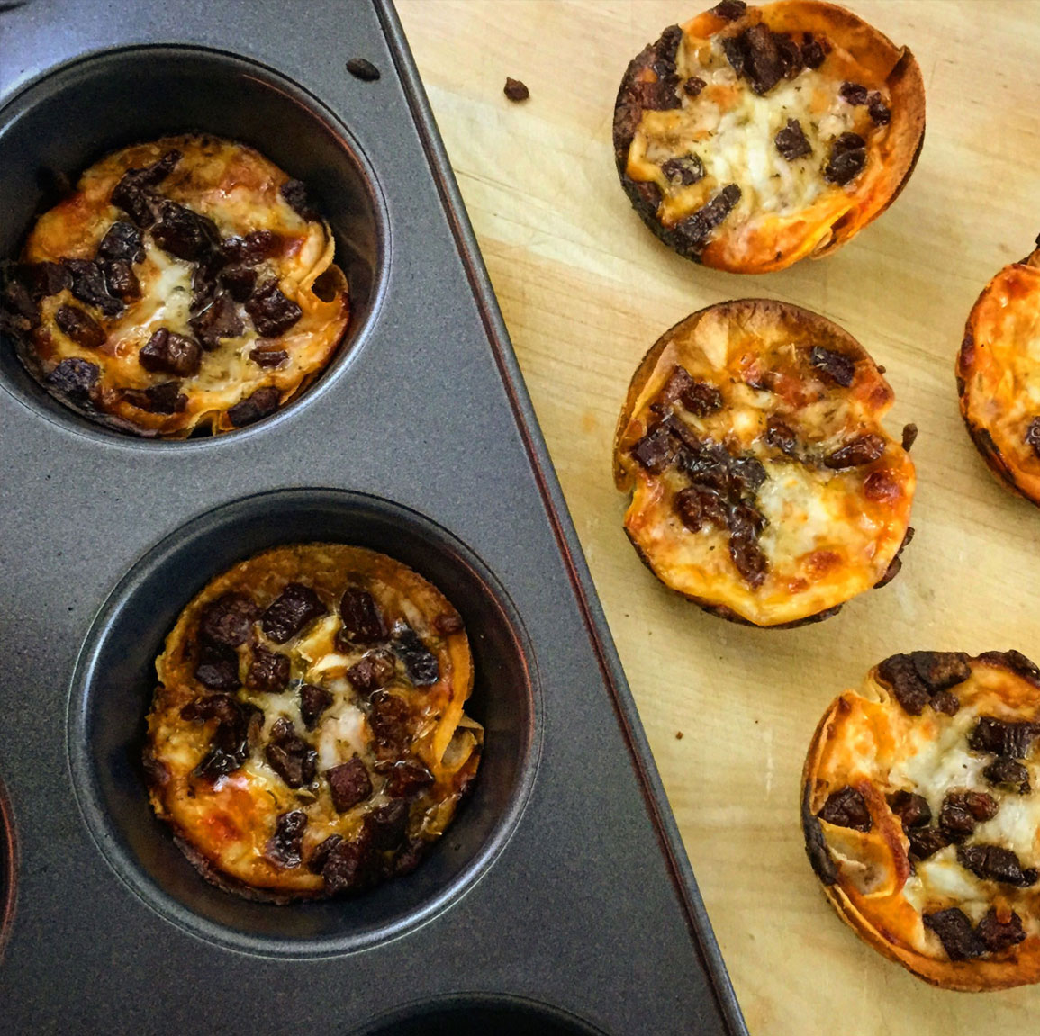 Mini Deep-Dish Pizzas Recipe — Dishmaps